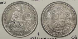 World Coins - PERU: 1873-LIMA LD Roman 'I' in date. Sol