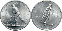 World Coins - ITALY: 1950-R 2 Lire