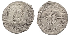 World Coins - FRANCE Besançon Charles V, as Holy Roman Emperor 1530-1556 1/2 Blanc 1543 EF