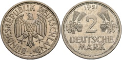 World Coins - GERMANY (WEST): 1951 J 2 Mark