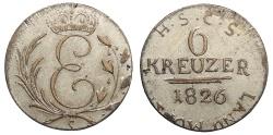 World Coins - GERMAN STATES Saxe-Coburg-Saalfeld Ernst I 1826-S Contemporary Counterfeit 6 Kreuzer EF