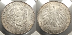 World Coins - GERMANY: Federal Republic of Germany 1966-D Leibniz 5 Mark