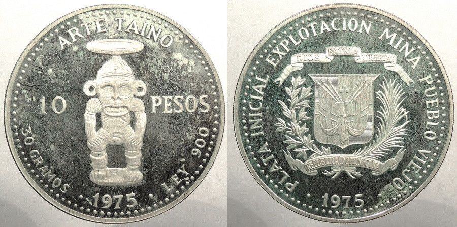 World Coins - DOMINICAN REPUBLIC: 1975 Proof 10 Pesos