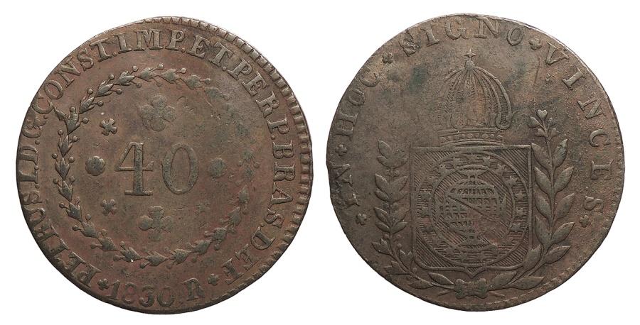 World Coins - BRAZIL Pedro I 1830-R Contemporary counterfeit 40 Reis Near EF