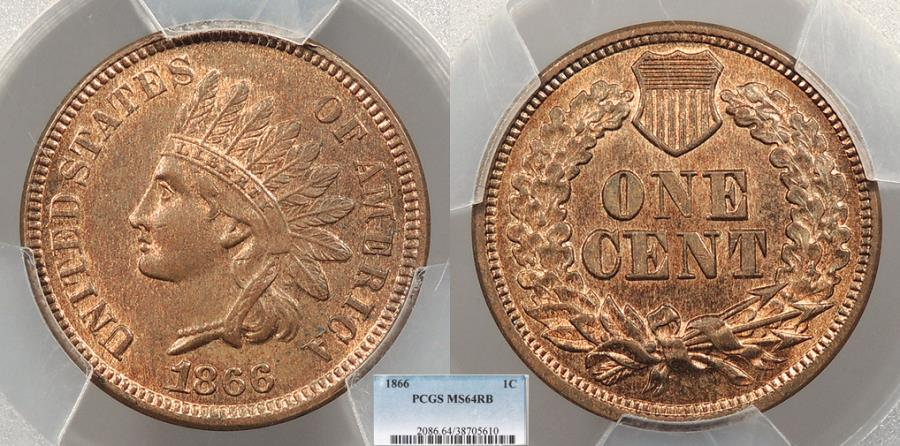 US Coins - 1866 Indian Head 1 Cent S3a; 1 repunched wide left PCGS MS-64 RB