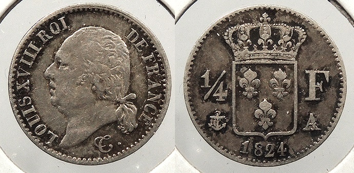 World Coins - FRANCE: 1824-A 1/4 Franc