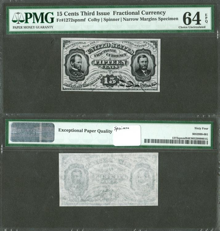 US Coins - 3rd Issue (1864-1869) 15 Cents PMG-64 EPQ