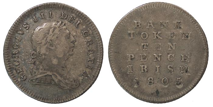 World Coins - IRELAND Bank of Ireland George III 1805 10 Pence Irish VF