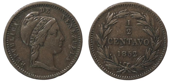 World Coins - VENEZUELA Republic 1852 1/2 Centavo VF