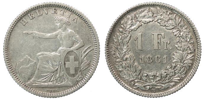 World Coins - SWITZERLAND Confederation 1861-B Franc Good VF