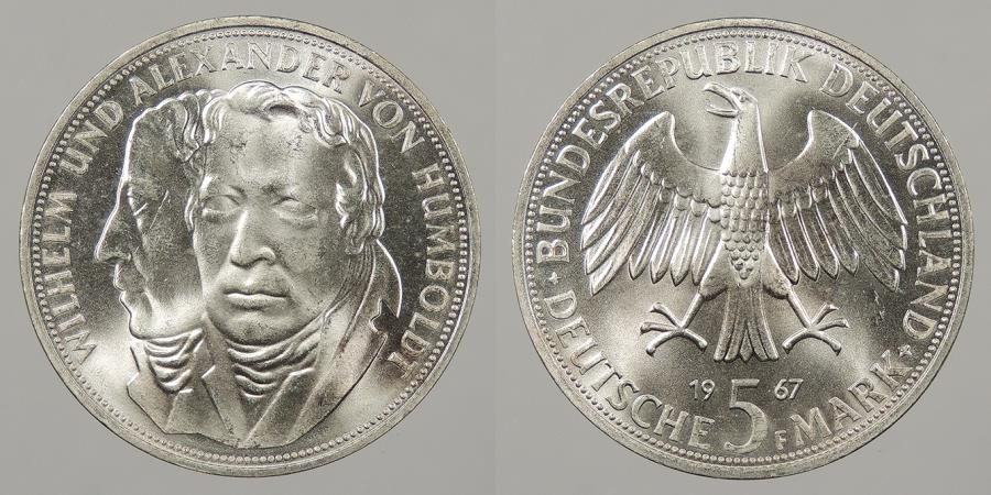 World Coins - GERMANY: West Germany 1967-F 5 Mark