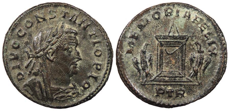 Ancient Coins - Divus Constantius I Died 306 A.D. Follis Trier Mint Near EF