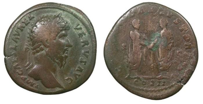 Ancient Coins - Lucius Verus 161-169 A.D. Sestertius Rome Mint Fine
