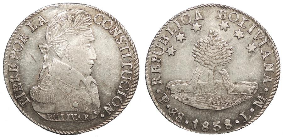 World Coins - BOLIVIA 1838-PTS LM 8 Soles Choice AU
