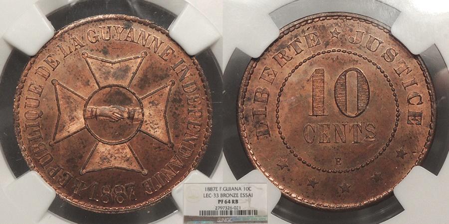 World Coins - FRENCH GUIANA 1887-E Essai 10 Centimes NGC PF-64 RB