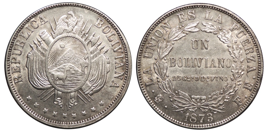 World Coins - BOLIVIA Republic 1873-PTS FE Boliviano AU/UNC