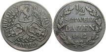 World Coins - SWISS CANTONS: Graubunden 1842 1/2 Batzen