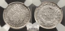 World Coins - BOLIVIA: 1874-PTS FE 5 Centavos NGC AU-58