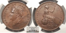 World Coins - GREAT BRITAIN George IV 1826 Penny NGC MS-64 BN