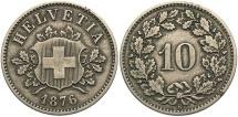 World Coins - SWITZERLAND: 1876-B 10 Rappen