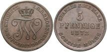 World Coins - GERMAN STATES: Mecklenburg-Streitlitz 1872 B 5 Pfennig