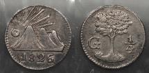 World Coins - CENTRAL AMERICAN REPUBLIC: 1826-G 1/4 Real