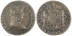 World Coins - PORTUGAL D. Maria II 'a Educadora' ND (1834) 870 Reis revaluation of 8 Reales EF