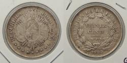 World Coins - BOLIVIA: 1890 20 Centavos