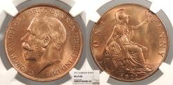 World Coins - GREAT BRITAIN George V 1911 Penny NGC MS-65 RB
