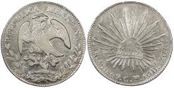 World Coins - MEXICO 1869-Mo CH 8 Reales AU