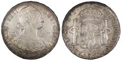 World Coins - BOLIVIA Carlos (Charles) IIII 1808-PTS PJ 8 Reales AU