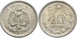 World Coins - MEXICO: 1925/3 Mo 10 Centavos