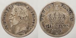 World Coins - FRANCE: 1868-A 50 Centimes