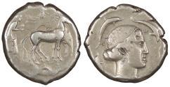 Ancient Coins - Sicily Syracuse Second Democracy 466-405 B.C. Tetradrachm VF