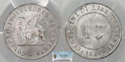 World Coins - ITALIAN STATES Venice Provisional Government 1848 ZV 15 Centesimi PCGS MS-65