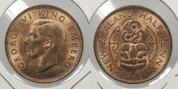 World Coins - NEW ZEALAND: 1941 Halfpenny