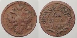 World Coins - RUSSIA: 1737 Denga (1/2 Kopek)