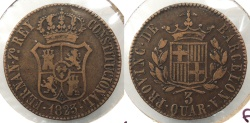 World Coins - SPAIN: Barcelona 1823 3 Quartos