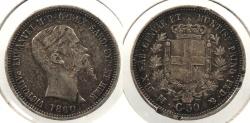 World Coins - ITALIAN STATES: Sardinia 1860-M 50 Centesimi