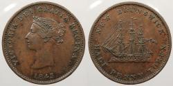 World Coins - CANADA: New Brunswick 1843 Victoria Halfpenny Token