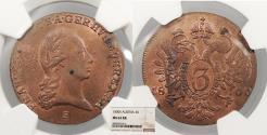 World Coins - AUSTRIA Franz II (I) 1800-S 3 Kreuzer NGC MS-63 RB
