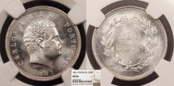World Coins - PORTUGAL Carlos I 1891 200 Reis NGC MS-66