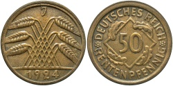 World Coins - GERMANY: 1924-J 50 Reichspfennig