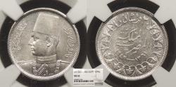 World Coins - EGYPT Farouk 1942 / AH 1361 2 Piastres NGC MS-62