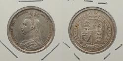 World Coins - GREAT BRITAIN: 1891 Victoria; Jubilee head. Shilling