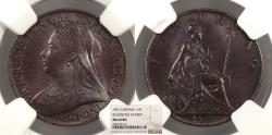 World Coins - GREAT BRITAIN Victoria 1901 Farthing NGC MS-64 BN
