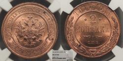 World Coins - RUSSIA Nicholas II 1914-SPB 2 Kopeks NGC MS-64 RD