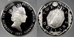 World Coins - BRITISH VIRGIN ISLANDS: 1985 Religious medallion. 20 Dollars Proof