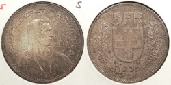 World Coins - SWITZERLAND: 1932 5 Franken