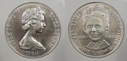 World Coins - ISLE OF MAN: 1980 Queen Mother. Crown